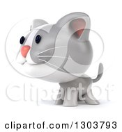 Clipart Of A 3d White And Gray Kitten Facing To The Left Royalty Free Illustration