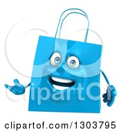 Clipart Of A 3d Blue Shopping Or Gift Bag Character Presenting Royalty Free Illustration