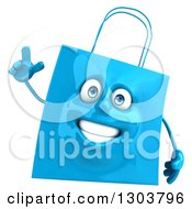 Clipart Of A 3d Blue Shopping Or Gift Bag Character Holding Up A Finger Royalty Free Illustration
