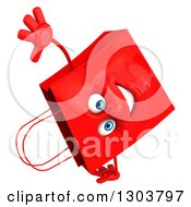 Clipart Of A 3d Red Shopping Or Gift Bag Character Doing A Cartwheel Royalty Free Illustration