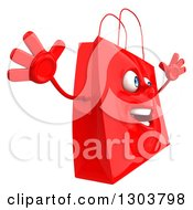 Clipart Of A 3d Red Shopping Or Gift Bag Character Facing Right And Jumping Royalty Free Illustration