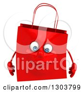 Clipart Of A 3d Sad Red Shopping Or Gift Bag Character Royalty Free Illustration