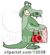 Female Alligator Grinning And Carrying A Purse And Bag While Shopping Clipart Illustration