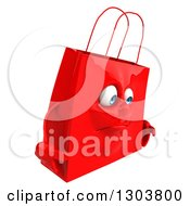 Clipart Of A 3d Sad Red Shopping Or Gift Bag Character Facing Right Royalty Free Illustration