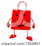 Clipart Of A 3d Happy Red Shopping Or Gift Bag Character Royalty Free Illustration
