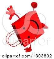 Clipart Of A 3d Happy Red Shopping Or Gift Bag Character Cartwheeling Royalty Free Illustration