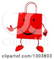 Clipart Of A 3d Happy Red Shopping Or Gift Bag Character Presenting Royalty Free Illustration