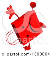 Clipart Of A 3d Unhappy Red Shopping Or Gift Bag Character Cartwheeling Royalty Free Illustration