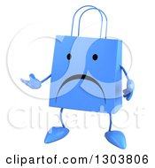 Clipart Of A 3d Unhappy Blue Shopping Or Gift Bag Character Presenting Royalty Free Illustration
