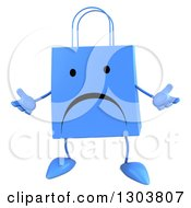 Clipart Of A 3d Unhappy Blue Shopping Or Gift Bag Character Shrugging Royalty Free Illustration