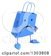 Clipart Of A 3d Unhappy Blue Shopping Or Gift Bag Character Pouting Royalty Free Illustration