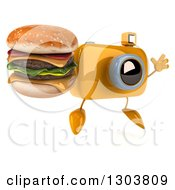 Clipart Of A 3d Yellow Camera Character Facing Slightly Right Jumping And Holding A Double Cheeseburger Royalty Free Illustration by Julos