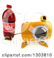 Clipart Of A 3d Yellow Camera Character Holding Up A Soda Bottle Royalty Free Illustration by Julos