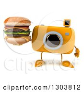 Clipart Of A 3d Yellow Camera Character Holding A Double Cheeseburger Royalty Free Illustration by Julos