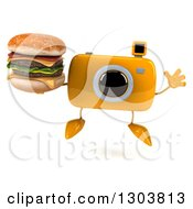 Clipart Of A 3d Yellow Camera Character Jumping And Holding A Double Cheeseburger Royalty Free Illustration by Julos
