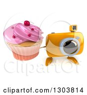 Clipart Of A 3d Yellow Camera Character Holding Up A Pink Frosted Cupcake Royalty Free Illustration by Julos