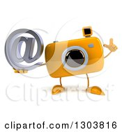 Clipart Of A 3d Yellow Camera Character Holding Up A Finger And An Email Arobase At Symbol Royalty Free Illustration by Julos