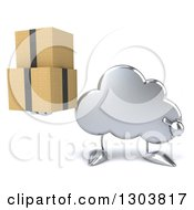 Clipart Of A 3d Silver Cloud Character Holding And Pointing To Boxes Royalty Free Illustration by Julos