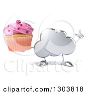 Clipart Of A 3d Silver Cloud Character Holding Up A Finger And A Pink Frosted Cupcake Royalty Free Illustration by Julos