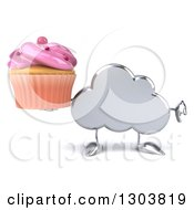 Clipart Of A 3d Silver Cloud Character Holding A Pink Frosted Cupcake And Thumb Down Royalty Free Illustration by Julos