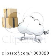 Clipart Of A 3d Silver Cloud Character Shrugging And Holding Boxes Royalty Free Illustration by Julos