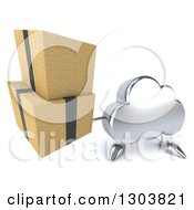 Clipart Of A 3d Silver Cloud Character Holding Up Boxes Royalty Free Illustration by Julos