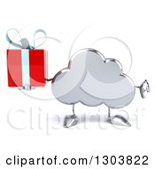 Clipart Of A 3d Silver Cloud Character Holding A Gift And Thumb Down Royalty Free Illustration by Julos