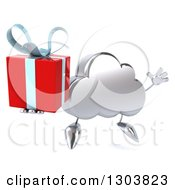 Clipart Of A 3d Silver Cloud Character Facing Slightly Right Jumping And Holding A Gift Royalty Free Illustration by Julos