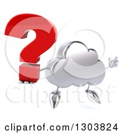 Clipart Of A 3d Silver Cloud Character Jumping With A Question Mark Royalty Free Illustration by Julos