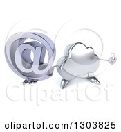 Clipart Of A 3d Silver Cloud Character Holding Up A Thumb And Email Arobase At Symbol Royalty Free Illustration by Julos