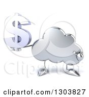 Clipart Of A 3d Silver Cloud Character Holding And Pointing To A Dollar Symbol Royalty Free Illustration