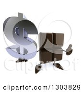 Clipart Of A 3d Chocolate Candy Bar Character Holding Up A Dollar Symbol And Thumb Royalty Free Illustration