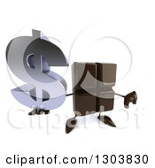 Clipart Of A 3d Chocolate Candy Bar Character Holding Up A Dollar Symbol And Thumb Down Royalty Free Illustration