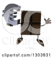 Clipart Of A 3d Chocolate Candy Bar Character Jumping And Holding A Euro Currency Symbol Royalty Free Illustration