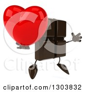 Clipart Of A 3d Chocolate Candy Bar Character Facing Slightly Right Jumping And Holding A Heart Royalty Free Illustration
