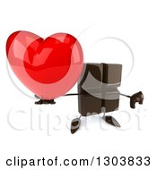 Clipart Of A 3d Chocolate Candy Bar Character Holding Up A Heart And A Thumb Down Royalty Free Illustration