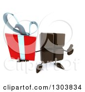 Clipart Of A 3d Chocolate Candy Bar Character Holding Up A Gift And A Thumb Royalty Free Illustration