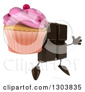 Clipart Of A 3d Chocolate Candy Bar Character Facing Slightly Right Jumping And Holding A Pink Frosted Cupcake Royalty Free Illustration