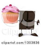 Clipart Of A 3d Chocolate Candy Bar Character Holding A Pink Frosted Cupcake And Thumb Down Royalty Free Illustration