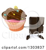Clipart Of A 3d Chocolate Candy Bar Character Holding Up A Cupcake Royalty Free Illustration