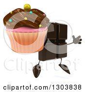 Clipart Of A 3d Chocolate Candy Bar Character Facing Slightly Right Jumping And Holding A Cupcake Royalty Free Illustration