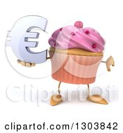 Clipart Of A 3d Pink Frosted Cupcake Character Holding A Euro Symbol And Thumb Down Royalty Free Illustration by Julos