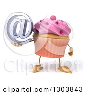 Clipart Of A 3d Pink Frosted Cupcake Character Holding An Email Arobase At Symbol Royalty Free Illustration by Julos