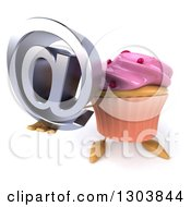 Clipart Of A 3d Pink Frosted Cupcake Character Holding Up An Email Arobase At Symbol Royalty Free Illustration by Julos