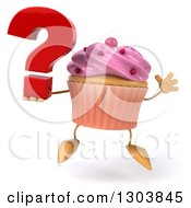 Clipart Of A 3d Pink Frosted Cupcake Character Jumping And Holding A Question Mark Royalty Free Illustration by Julos