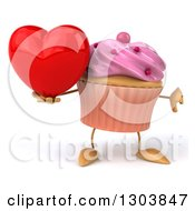 Clipart Of A 3d Pink Frosted Cupcake Character Holding A Heart And Thumb Down Royalty Free Illustration by Julos