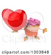 Clipart Of A 3d Pink Frosted Cupcake Character Holding Up A Heart And Thumb Down Royalty Free Illustration by Julos