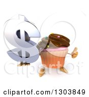 Clipart Of A 3d Chocolate Frosted Cupcake Character Holding Up A Thumb And Dollar Symbol Royalty Free Illustration by Julos