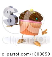 Clipart Of A 3d Chocolate Frosted Cupcake Character Shrugging And Holding A Dollar Symbol Royalty Free Illustration by Julos