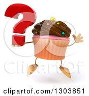 Clipart Of A 3d Chocolate Frosted Cupcake Character Jumping And Holding A Question Mark Royalty Free Illustration by Julos